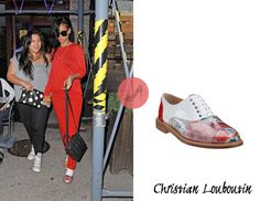 Rihanna was seen with her personal assistant, Jennifer Rosales, leaving Da Silvano restaurant in New York City carrying a standby Céline Nano bag and $895 Christian Louboutin Havana Woman Trash Oxfords.