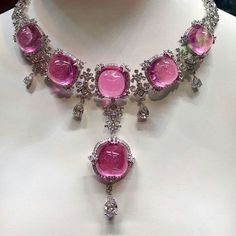 Pink tourmaline and diamond necklace, by Giampiero Bodino. Diamond Necklace Simple, Diamond Pendant Necklace, Diamond Jewelry, Pendant Jewelry, Luxury Jewelry, Modern Jewelry, Vintage Jewelry, Fine Jewelry, Unique Jewelry