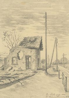 Drawing by Alfred Schönberner, WW1 Westfront. Europeana 1914-1918, CC BY-SA
