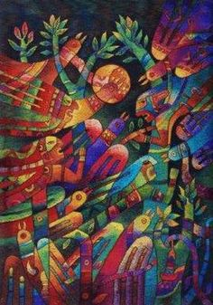 Maximo Laura Art Tapestries, Maximo Laura Tapestries,  Chant to Our Roots SIgned print for sale