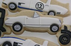 Classic Cars for a Cause Fancy Cookies, Cut Out Cookies, Cupcake Cookies, Chevrolet Corvette, Chevy, Auto Cookies, Fondant Flower Cake, Fondant Bow, Cars