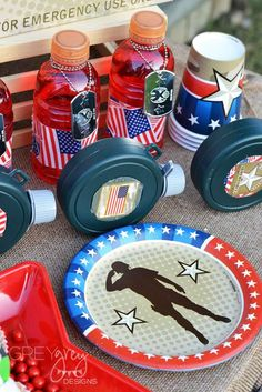 Drinks at a military birthday party! See more party ideas at CatchMyParty.com!