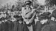 Croatian World War II ruler Ante Pavelic visiting a school circa 1943