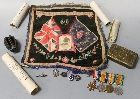 A MONS STAR AND BAR GROUP OF FOUR, consisting of WWI trio named '8810 L Cpl E. Blythe R. War R' on Mons Star and 'A.W.O. CL 2' on victory and BWM, and a defence medal unnamed as issued, together with minor paperwork, badges, Princess Mary gift tin, tapestry photograph mount and a sectioned pineapple grenade