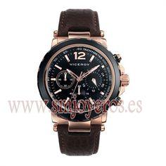 * Reloj Viceroy Hombre .Modelo 47741-95. * * Caja de acero e ip rosa y negro. * piel de color marron. * Esfera redonda de color negro. ...