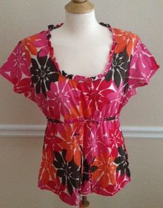 Boden US 10 UK 14 cotton top PINK ORANGE floral summer blouse #Boden #Blouse #Casual