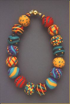 The Early Development of Polymer Clay Bead-Making: Part Two – Polymer Art Archive Polymer Clay Bracelet, Polymer Clay Canes, Polymer Clay Pendant, Polymer Clay Projects, Polymer Clay Earrings, Metal Clay Jewelry, Schmuck Design, How To Make Beads, Make Clay Beads