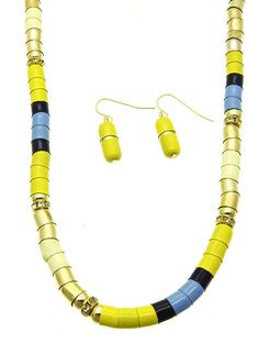 Because you're a good girl, you go visit grandmother. Secretly, you know where she hides the good stuff.  Pill Cabinet is made from a combination of gold metal, yellow and blue epoxy, and rhinestones.  Necklace is 18 inches long and earrings have fish hook posts.