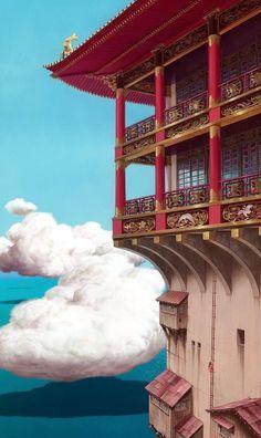 Hayao Miyazaki ■Spirited Away● Howl's moving castle●Kiki's Deliver Service●Studio Ghibli, Japan● (スタジオジブリ) Art Studio Ghibli, Studio Ghibli Films, Hayao Miyazaki, Totoro, Studio Ghibli Background, Chihiro Y Haku, Film D'animation, Howls Moving Castle, Anime Scenery