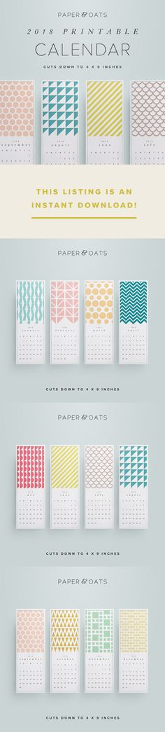 A bright and simple 2018 printable desk or wall calendar designed by Paper+Oats. Each month features a unique geometric pattern in a different color, making it a perfect gift for a friend for Christmas, or a simple reference for your own office. This is an instant download PDF file. #ad