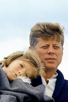 The president and his daughter, Caroline. Since I am Caroline's age, I remember feeling very sad and sorry for her and John john when Kennedy was assassinated.