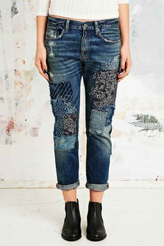 Denim & Supply Ralph Lauren Bandana Patchwork Boyfriend Jeans - Urban Outfitters (DIY?)