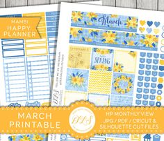 Happy Planner March Stickers, March Mambi Stickers, Monthly View Kit, Printable Planner Stickers, Spring Planner, Spring Stickers, HPMV118