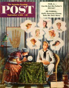 1954 Cover Saturday Evening Post Navy Sailor Tarot Horoscope Fortune Teller