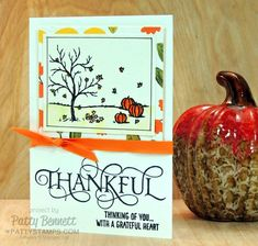 Handstamped fall Thankful card with watercolor paper and Whisper White Note Card.  Happy Scenes stamp set from Stampin' UP!  Thankful stamp from Six Sayings hostess set. Card by Patty Bennett