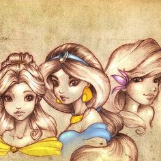 Belle, Jasmine, and Ariel.
