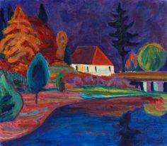 lawrenceleemagnuson: Landschaft mit Haus in Oberau (1908)  Gabriele Münter oil on canvas 40 x 56cm.