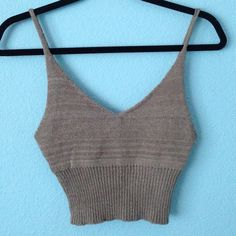 Brown crop tank top Brandy look alike top. New with tags. Thick material. Perfect condition. No adjustable straps Brandy Melville Tops Crop Tops