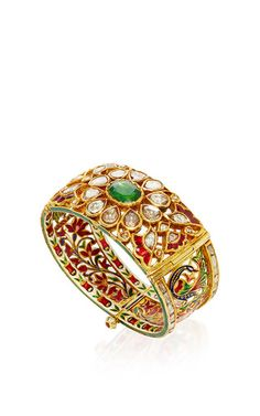 18K Gold Royal Enamel Detailed Diamonds, Rubies by & Emeralds Cuff | Moda Operandi