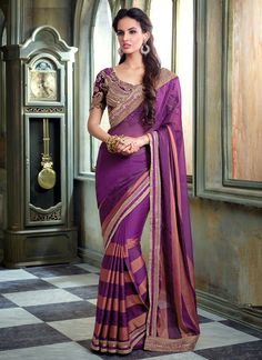 http://www.sareesaga.in/index.php?route=product/product&product_id=25643 Style	:	Designer Saree	Shipping Time	:	10 to 12 Days Occasion	:	Party Festival	Fabric	:	Faux Chiffon Jacquard Colour	:	Purple	 Work	:	Embroidered Patch Border Work For Inquiry Or Any Query Related To Product, Contact :- +91-9825192886, +91-7405449283
