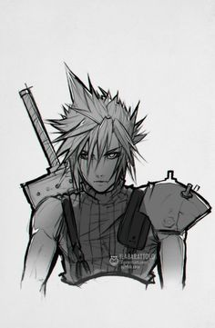Live and learn Love and learn - Final Fantasy VII - Cloud Strife Final Fantasy Tattoo, Final Fantasy Cloud, Final Fantasy Artwork, Final Fantasy Characters, Final Fantasy Vii Remake, Fantasy Drawings, Black Anime Characters, Fantasy Series, Cloud Strife