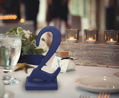 Nautical Wedding Table Numbers in Navy Blue - Reception Decoration, Wooden Painted Numbers