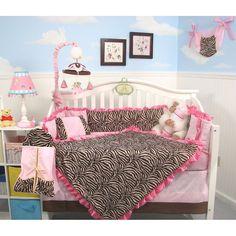SoHo Pink Zebra Chenille Baby Crib Nursery Bedding 10 pcs in Baby, Nursery Bedding, Crib Bedding