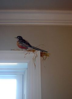 Robin Robin Oh I think I want one of these, but it sure would look cute in a bird lovers room. Robin Robin Oh I think I want one of these, but it sure would look cute in a bird lovers room. Wall Design, House Design, Diy Design, Modern Design, Bird Art, Painted Furniture, Home Decor, Painted Wall Murals, Painted Frames