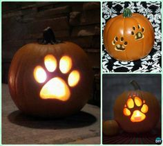 DIY Puppy Paw Print Pumpkin Lantern Instruction --Paw Print Craft Ideas Projects #Pets. #Halloween