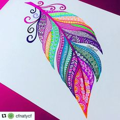 Colourful zentangle feather.