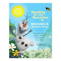 Frozen Summer Olaf Birthday Invitation Personalized Invitation. Artwork designed by disney. $.78
