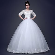 Ball Gown Sweetheart Tulle And Lace With Beading Wedding Dress – USD $ 179.99