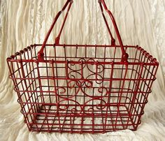 Shabby Chic Flea Market Find Red Metal Basket/ by happybdaytome, $39.00