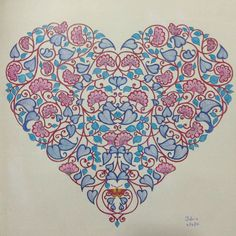 Secret Garden, colouring book by Johanna Basford. Heart.