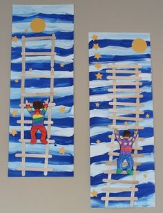 they did this art project based on his book Papa Please Get the Moon for Me,by Eric Carle Kindergarten Might change popsicle sticks to other found objects.