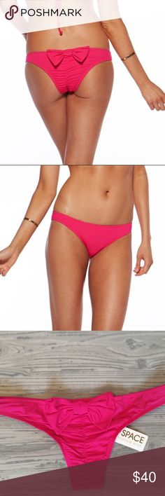 e5f262170991b L Space Hot Pink DOLLED UP Bow Back Bikini Bottom Open to all reasonable
