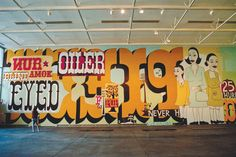 """The late great Margaret Kilgallen at Yerba Buena. As KQED describes, """"Drawing from folk and historical art influences, Kilgallen was significantly inspired by letter forms, typography, and D.I.Y. (do-it-yourself) culture."""""""
