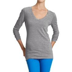 Old Navy Womens Vintage Style V Neck Tees ($4) ❤ liked on Polyvore featuring tops, t-shirts, grey, petite, gray v neck t shirt, petite long sleeve t-shirts, old navy t shirts, v neck tee and v neck t shirts