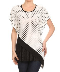 Loving this White & Black Polka Dot Asymmetrical-Hem Top on #zulily! #zulilyfinds