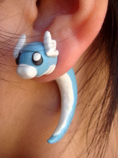 Sky Blue Dratini Fake Gauge Polymer Clay Earrings