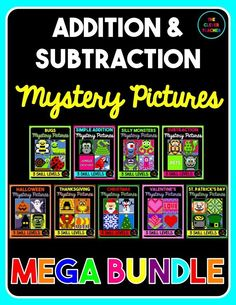 Differentiated mystery pictures are a fun way to practice addition and subtraction facts!  My students love watching the picture appear before their eyes! This huge bundle comes with 9 products at a huge discount! Each picture comes with 3 skill levels. In all there are 34 pictures with 102 unique worksheets.