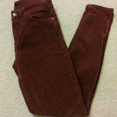 "Corduroy Joes Jeans Dark burgundy colored Joes jeans! Corduroy!! These have never been worn and I know I won't wear them so please take them from me :) Leg opening is 5"" Inseam is 30"" Joe's Jeans Jeans Skinny"