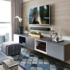 Home Decorating Style 2019 for Living Room Tv Wall Ideas, you can see Living Room Tv Wall Ideas and more pictures for Home Interior Designing 2019 at Best Home Living Room. Living Room Tv, Small Living Rooms, Apartment Living, Modern Living, Modern Tv, Living Area, Modern Design, Room Interior, Interior Design Living Room