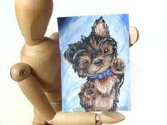 Custom ACEO Art Painting Animal Pet Portrait by rainbowofcrazy