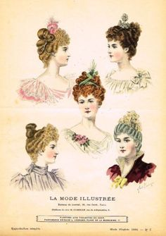 Vintage Hairstyles French hairstyle from La Mode Illustree, 1890s Fashion, Victorian Fashion, Victorian Era, Vintage Fashion, Dress Hairstyles, Retro Hairstyles, Jean Délavé, Engraving Printing, Victorian Hairstyles