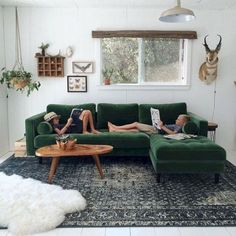 The Rug Create Contrast Between The Dark Green Couch By The Small And  Intricate Pattern. It Makes It Have A Much More Sophisticated Look, With  All Of Tiny ...