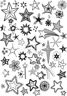 Quirky and fun hand drawn star vector shapes