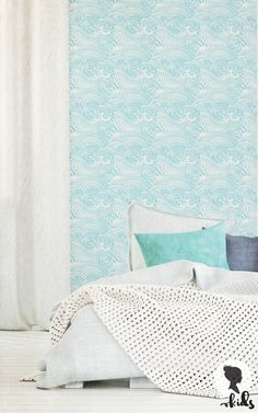 Waves Pattern Removable Wallpaper Nursery by LivettesKIDS on Etsy