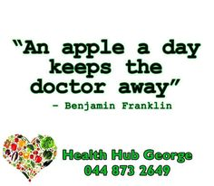 """An apple a day keeps the doctor away"" – Benjamin Franklin #HealthHub #SundayMotivation"