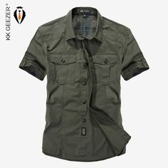 74463dcb4248 2017 Summer Military Style Men Casual Shirts Spring High Quality Cotton Solid  Shirt Classic Design Breathable Brand Dress Shirts